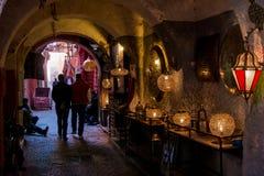 Lampy w sklepie w Marrakesh Morocco 08 2017 Styczeń Fotografia Stock
