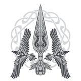 A lança do deus Odin - Gungnir Dois corvos e teste padrão escandinavo ilustração do vetor