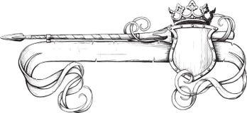 Lança e coroa da bandeira ilustração do vetor