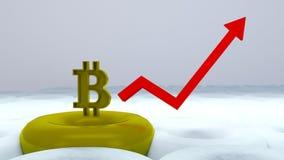 Lança-foguetes do logotipo de Bitcoin, conceito do cryptocurrency A taxa de crescimento da moeda de ouro para desenhistas e notíc Imagens de Stock Royalty Free