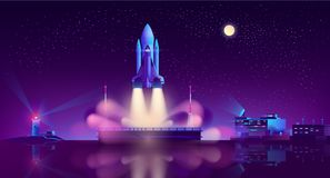 Lançamento da nave espacial do vetor de flutuação da plataforma ilustração stock