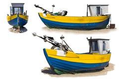 Lançamento de madeira velho da pesca arrastado em terra três vistas fotos de stock