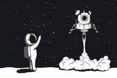 Lançamento do módulo lunar, aterrando na lua Fotografia de Stock Royalty Free