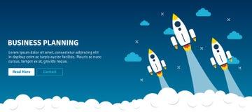 Lançamento e fumo de Rocket Planeamento empresarial imagem de stock royalty free
