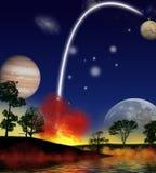 Rocket sopra fora imagens de stock royalty free