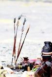 Lanças africanas em um festival em Kenya Fotos de Stock Royalty Free