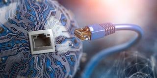 LAN网络连接与计算机芯片的以太网电缆 在未来派背景的互联网绳子 向量例证