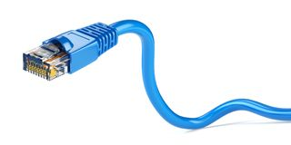 LAN网络连接以太网电缆 互联网绳子RJ45 isolat 免版税库存照片