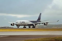 LAN Airlines Airbus 340-330 aircraft. On the runway at Sydney Airport Royalty Free Stock Photo