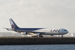 LAN Airlines Airbus A340 jet. Airliner on runway Stock Photography