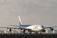 LAN Airlines Airbus A340 jet. Airliner on runway Royalty Free Stock Image