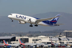 LAN Airlines Boeing 787-8 airplane Los Angeles International Air Royalty Free Stock Images