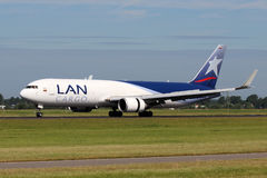 LAN Airlines Cargo Boeing 767. AMSTERDAM - JULY 02: LAN Airlines Cargo Boeing 767 lands at AMS Airport in Netherlands on July 02, 2012. LAN is a group of South Stock Images