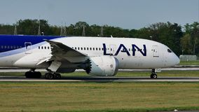 LAN Airlines plane taxiing on runway, Frankfurt, FRA. LAN Airlines jet doing taxi on runway, Frankfurt Airport, FRA, Germany stock footage