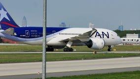 LAN Airlines plane taxiing in Frankfurt Airport, FRA stock footage