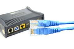 LAN Cable connect to Network Device. The LAN Cable connect to Network Device Stock Photos