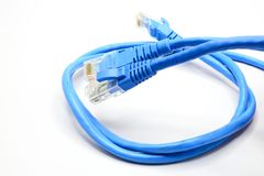 LAN Cable connect to Network Device. The LAN Cable connect to Network Device Stock Photography