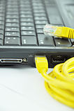LAN cable connected to laptop Royalty Free Stock Images