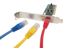 Lan cable & network card Royalty Free Stock Photo