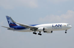LAN cargo jet airplane landing Royalty Free Stock Photography