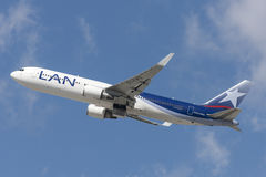 LAN Chile Airlines Boeing 767 taking off from Los Angeles International Airport. Stock Images