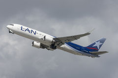 LAN Chile Airlines Boeing 767 taking off from Los Angeles International Airport. Stock Image