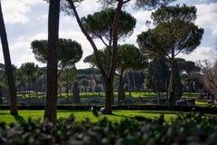 Lan del viaje del mediodía de los cielos azules de Roman Galleria Beautiful Green Park fotos de archivo