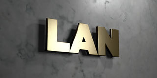 Lan - Gold sign mounted on glossy marble wall  - 3D rendered royalty free stock illustration Royalty Free Stock Photography