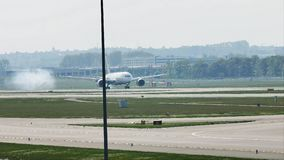 LAN Airlines plane landing in Frankfurt Airport, FRA. LAN jet doing taxi in Frankfurt Airport, FRA Germany stock video