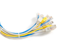 LAN Network cable with RJ-45 connector. Network cables Group with an RJ-45 connector used for the creation of local networks and hook up to the Internet via TCP Royalty Free Stock Photos