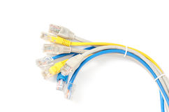 LAN Network cable with RJ-45 connector. Network cables Group with an RJ-45 connector used for the creation of local networks and hook up to the Internet via TCP Stock Photo