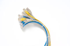 LAN Network cable with RJ-45 connector. Network cables Group with an RJ-45 connector used for the creation of local networks and hook up to the Internet via TCP Stock Images