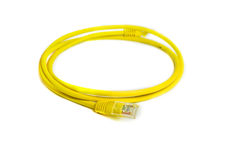 LAN network connection Ethernet RJ-45 cable yellow color. Royalty Free Stock Photo