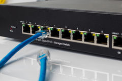 LAN network switch with ethernet cables plugging in Royalty Free Stock Images