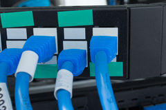 Lan. Network switch HUB and ethernet cables (LAN) in data center Stock Image