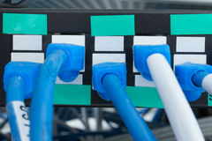 Lan. Network switch HUB and ethernet cables (LAN) in data center Stock Photo