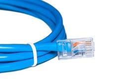 Lan-Netzkabel mit ADSLverbindungsstück Ethernet-Linie lokalisiert auf Weiß stockfotografie