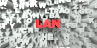 LAN -  Red text on typography background - 3D rendered royalty free stock image Stock Photo