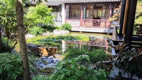 Lan Su Chinese Garden in Portland, Oregon. View of a koi pond inside the garden taken from a tea house Royalty Free Stock Image