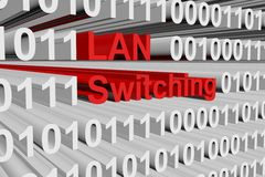 LAN switching. In the form of binary code, 3D illustration Stock Images