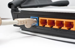 LAN van de computer Kabels met Router Royalty-vrije Stock Foto
