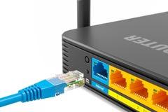 LAN włącznik czopuje w LAN portu interneta bezprzewodowego routeru tylnym bocznym panelu 3d ilustracja wektor