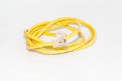 LAN yellow on a white background. LAN roll a yellow circle Royalty Free Stock Photography