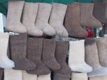 Lana di Valen dagli stivali della lana delle pecore Fotografie Stock Libere da Diritti