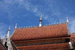 Lana style roof of Wat in Chiang Mai royalty free stock photo