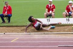 Lanae Tava Thomas. At long jump on Diamond League in Rome, Italy in 2016 royalty free stock photos