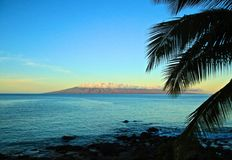 Lanai Island. Lanai the sixth largest of the Hawaiian Islands shimmering in the sunrise off Maui Island Stock Images
