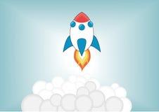 Lançamento de foguete simplificado dos desenhos animados acima no céu Fotos de Stock