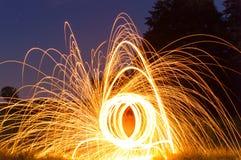 Lanas de acero ardientes Imagen de archivo libre de regalías