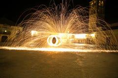 Lanas de acero en la noche Imagen de archivo libre de regalías